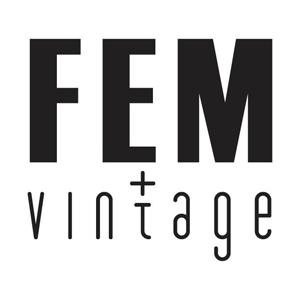 Fem Vintage logo. Retro kleding, meubels en kaarten.