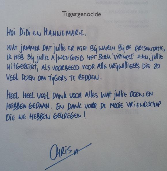Chris Slappendel tijgers boek Tijgergenocide aanbeveling duurzame ondernemers MMENR