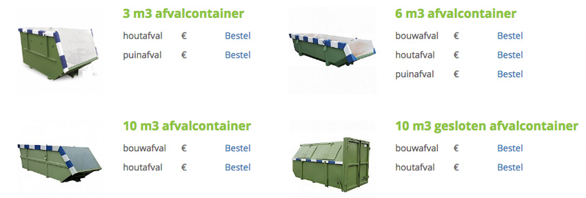 Afvalvuil container huren open gesloten bedrijven particulier MMENR